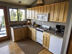 Kitchen comes fully stock with all the cooking supplies needed. Great way to save money.