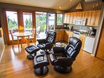 Open area Cottage.  Comfortable chairs for lounging around all day ...both indoor and out. .