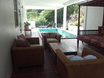 Pool deck with comfortable seating and WiFi