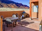 Outside patio dining for six with propane BBQ grill