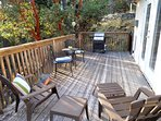 View of outside seasonal deck furniture. Available June - Sept. Photo is from prior to deck rebuild.