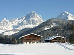 View from #ChaletFilzmoos in #skiamade towards the mountains. The ski chalet is available to rent.