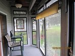seating on porch, great for your morning coffee