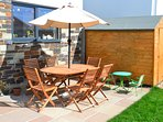 Private Garden, partly patio and partly lawn, with Patio Furniture, Sun lounger and Parasol