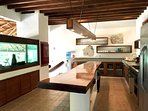 The aquarium separates the kitchen from the living/dining areas, just a few steps down.