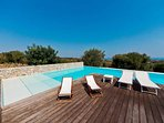 pool and wooden deck