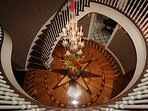 Spiral Staircase for the Royal, Regal, & Premier Suites and Elevator's Second Floor Landing.