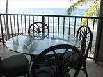 Lanai Dining Option - why not enjoy some fresh Papaya or Poki while watching the surfing crowd!