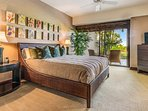 Master bedroom, with direct access to private ocean-view lanai and garden.
