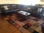 Living room with leather reclining sectional