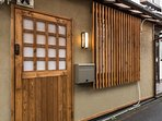 Exterior of house done in Japanese style.