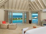 ... with sweeping views of the Caribbean sea