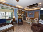 Large living room space open to the dinning room and kitchen.
