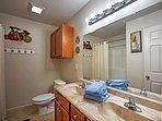 Spacious bathroom has ample room.