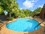 Extremely private outdoor entertainment & lounge area. Massive pool & is centrally located & quiet