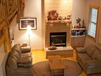 Cozy Fireplace and intimate seating in this charming Terry Peak Ski area cabin. 2 blks to Main Lodge