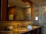 Master en-suite bath, glass shower