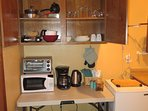 mall kitchenette w/ microwave, hot plate, fridge, coffeemaker, small oven