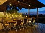 Villa Soma - alfresco dining at dusk