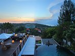 Villa Soma - Looking down from Roof Deck to Lounging Deck and Infinity Pool