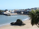 Tenby's North Beach and harbour