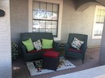 Guests can enjoy the front patio day or night.