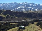 Mid winter's day, stunning views of the snow-capped Seaward Kaikoura mountain range