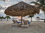 Beach area with loungers and palapas - relax in the sun or shade!