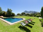 Bask in the sun and enjoy spectacular mountain views