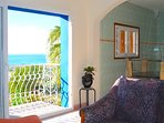 Balcony with ocean view from living room
