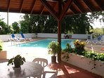 Pool across the villa
