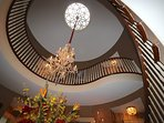 The two Story Rotunda with a domed ceiling and sky light placed between the front and back Foyers.