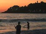Seashore fishing at Sunset