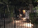 Gated Home Entrance with garden lighting