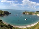 the famous horse shoe shaped Lulworth Cove is just a few kilometres from The Pink House Lulworth