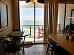 Breakfast nook. Large snack bar with stools Patio access
