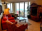 Living Room queen sized sleeper sofa. Flatscreen TV DVD; iPod player