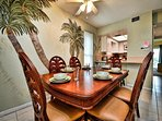 Enjoy a family meal at the dining table that seats 6.