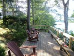 Deck sits right at the waters edge with sandy beach area below-160 Long Pond Drive Harwich Cape Cod - New England...