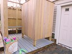 Enclosed outdoor shower with hot and cold water-160 Long Pond Drive Harwich Cape Cod - New England Vacation Rentals