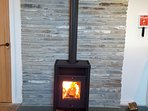 Log burner & slate fireplace