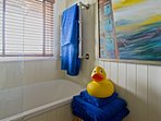 A big yellow duck in the Bathroom for Cabins 2, 3 and 4.