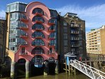 China Wharf (now listed) from The Harpy. Nice bit of Post Modernism; always good on a sunny morning.