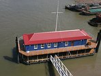 Tower Bridge Houseboat: The Harpy from above.