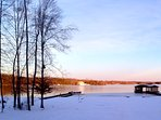 Winter view of the lake as seen from the patio firepit.  We don't get much snow but it does get cold