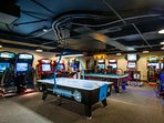 Game Room is complete w pool table, air hockey & video games