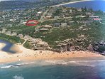 The beach house (circled in red) with easy walk to the beach