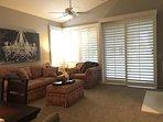 Living room with door to patio