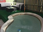 Our vintage and ultra-fun hot tub, with deck