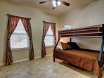 Third bedroom has a bunk bed with a full size mattress on the bottom bunk and a twin size mattress on the top bunk.